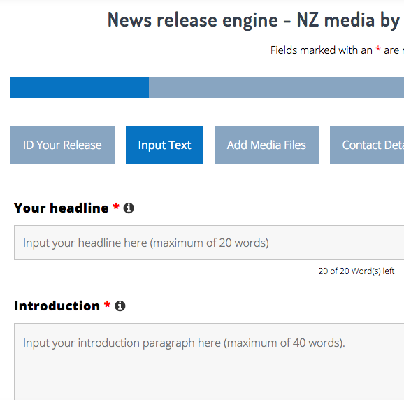 THIRD STEP: Input your info into our release formatting platform